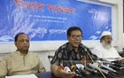Sampriti Bangladesh's Convener Pijush Bandyopadhyay on Thursday addresses a media briefing at the National Press Club to deny the organisation's involvement with an advertisement on the identification of militants. Photo: Abdullah Al Momin