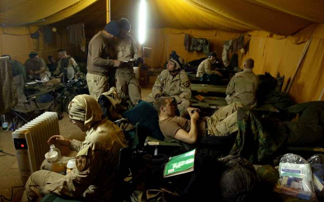 American soldiers in their tent in Ad Duluiyah, Iraq, Dec 22, 2003. Some hear echoes of the American case for war in Iraq in the Trump administration's recent comments about Iran. The New York Times