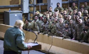 President Donald Trump addresses troops during a surprise visit to at Al Asad Air Base in Iraq, Dec 26, 2018. The New York Times