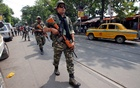 File Photo: Central Reserve Police Force (CRPF) personnel conduct route march in a street ahead of the seventh and last phase of general election, in Kolkata, India, May 15, 2019. Reuters