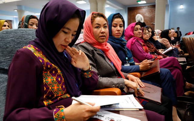 Afghan women attend a consultative grand assembly, known as Loya Jirga, in Kabul, Afghanistan Apr 29, 2019. REUTERS