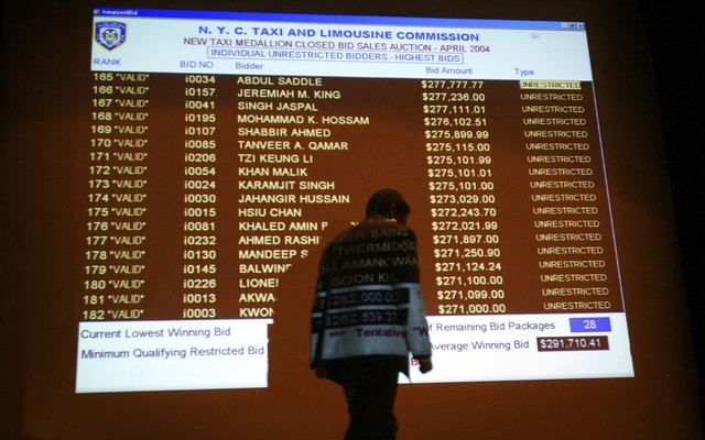 Bids for taxi medallions — the permits that let drivers own cabs —projected onto a large screen at a New York City Taxi and Limousine Commission auction in New York, Apr 23, 2004. Despite years of warning signs, agencies at every level of government did little to help New York taxi drivers as they became crushed under overwhelming debt. The New York Times