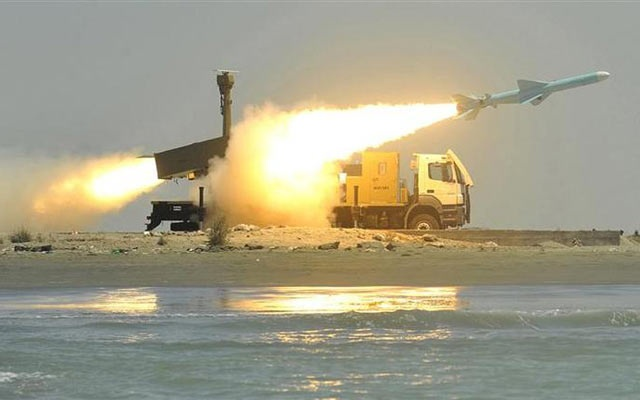 File Photo: A Noor missile is fired from its launch vehicle during a war game by the Iranian army near Jask port in southern Iran, May 11, 2010. REUTERS/IIPA/Abolfazl Nesaie