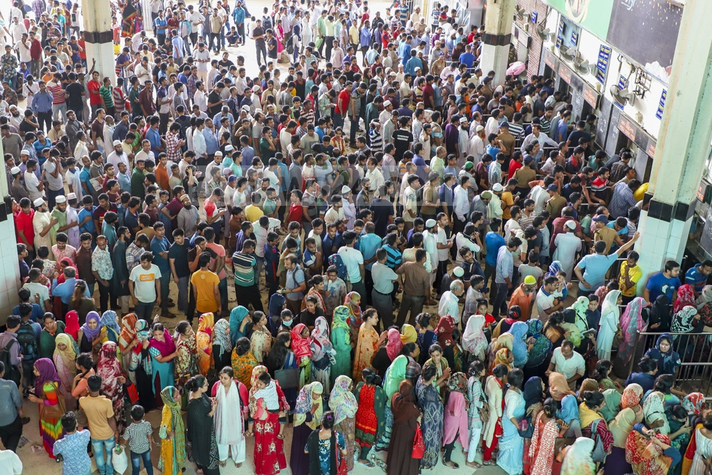 A crowded Kamalapur Railway Station in the capital on Wednesday, the first day of advance Eid train ticket sale. Photo: Abdullah Al Momin
