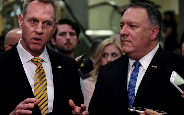 Acting US Defence Secretary Patrick Shanahan, left, and US Secretary of State Mike Pompeo speak to reporters after briefing senators on Iran in Washington. REUTERS