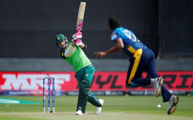 South Africa's Faf du Plessis batting off the bowl from Sri Lanka's Suranga Lakmal. ICC Cricket World Cup Warm-Up Match - Sri Lanka v South Africa - Cardiff Wales Stadium, Cardiff, Britain - May 24, 2019. Action Images via Reuters
