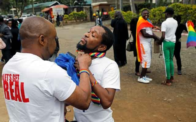 LGBT activists prepare for the ruling on whether to uphold or nullify law banning gay sex, outside the Milimani high Court in Nairobi, Kenya May 24, 2019. REUTERS