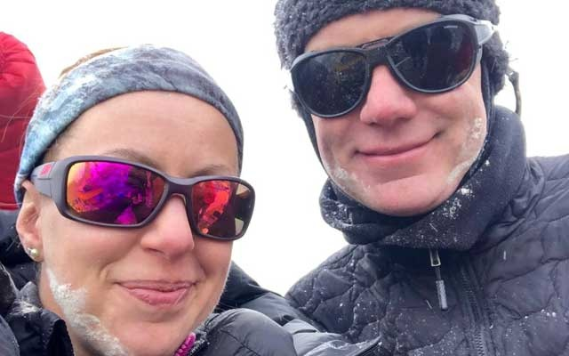 Robin Fisher and partner Kristyn Carriere take a selfie at Everest Base Camp, Nepal April 19, 2019 in this picture obtained from social media on May 26, 2019. ROBIN FISHER/via REUTERS