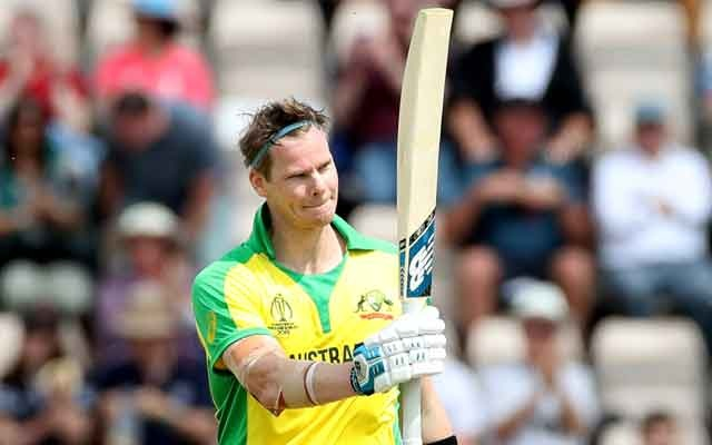 Australia's Steve Smith celebrates his century. Cricket - ICC Cricket World Cup Warm-Up Match - England v Australia - The Ageas Bowl, Southampton, Britain - May 25, 2019. Action Images via Reuters/Peter Cziborra