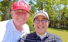 Japan's Prime Minister Shinzo Abe poses for a selfie with US President Donald Trump at Mobara Country Club in Mobara, Chiba prefecture, Japan, May 26, 2019, in this picture obtained from social media. Courtesy of Instagram @kantei, Prime Minister's Office, Japan/via REUTERS