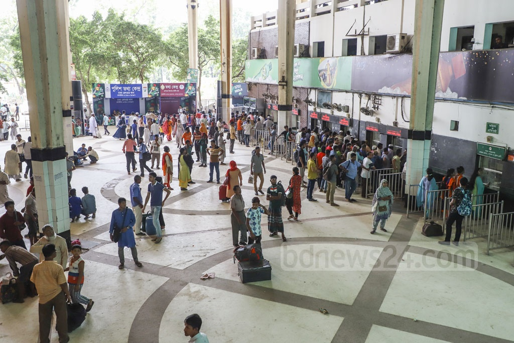 Despite the talk of selling at railway counters the online train tickets for Eid which went unsold, these were not on sale at Dhaka's Kamalapur Railway Station on Monday. Photo: Abdullah Al Momin