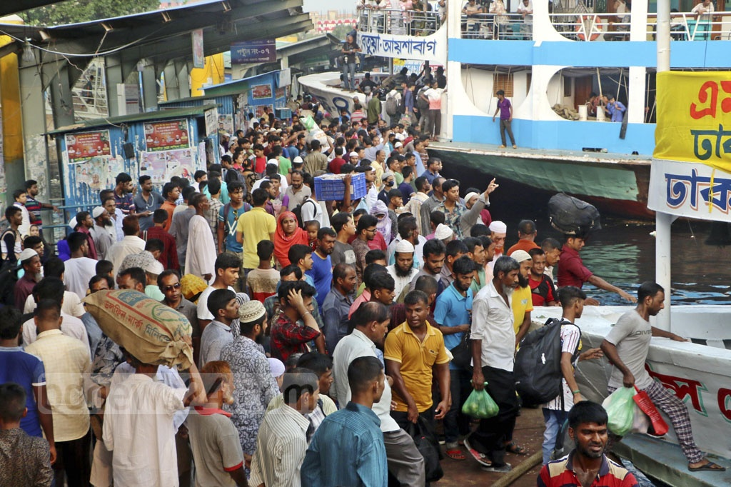 Homebound people overcrowded Sadarghat Launch Terminal on Friday ahead of the Eid.