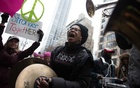 FILE -- A brass band plays for demonstrators before the Women's March in New York, Jan. 21, 2017. (Jessica Bal/The New York Times)