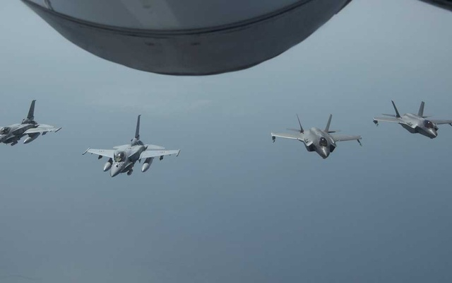 A handout image shows Desert Falcons from the United Arab Emirates Air Force flying in formation with United States F-35A Lightning IIs. The New York Times