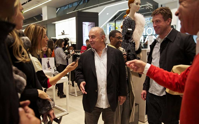 Sir Philip Green during the opening of a new Topshop/Topman store in New York, Nov 5, 2014. Green faces four counts of misdemeanor assault in Arizona after a Pilates instructor accused him of unwanted groping and sexually inappropriate behavior. Green said that he strongly denied the allegations, according to an emailed statement from his company, Arcadia Group. The New York Times