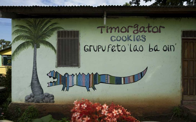 A cafe advertises Timorgator cookies, though there are no alligators on the island, in Bauro, East Timor, Feb. 8, 2019. Crocodile attacks in East Timor have increased in recent years, and scientists are trying to figure out why. (Matthew Abbott/The New York Times)