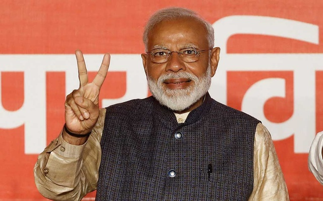 FILE PHOTO - Indian Prime Minister Narendra Modi gestures towards his supporters after the election results at Bharatiya Janata Party (BJP) headquarter in New Delhi, India, May 23, 2019. REUTERS
