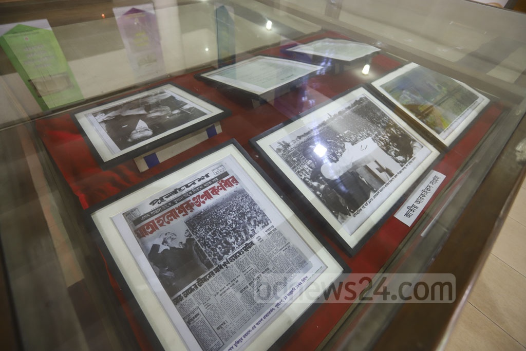 Newspaper clips, photos of Bangabandhu's historic Mar 7 speech and those published by newspapers on his Homecoming Day are on display at a week-long exhibition, starting on Sunday, at the Department of Archives and Library in Dhaka. Photo: Asif Mahmud Ove