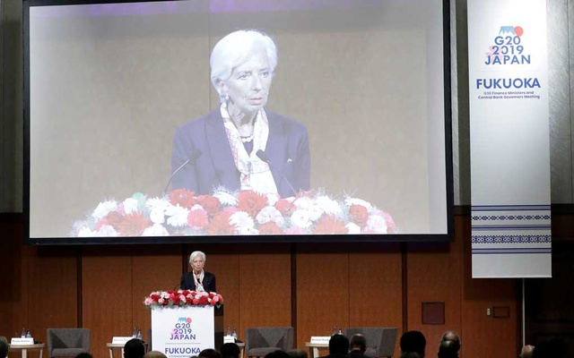 Christine Lagarde, managing director of the International Monetary Fund (IMF), speaks at the Group of 20 (G-20) high-level seminar on financial innovation