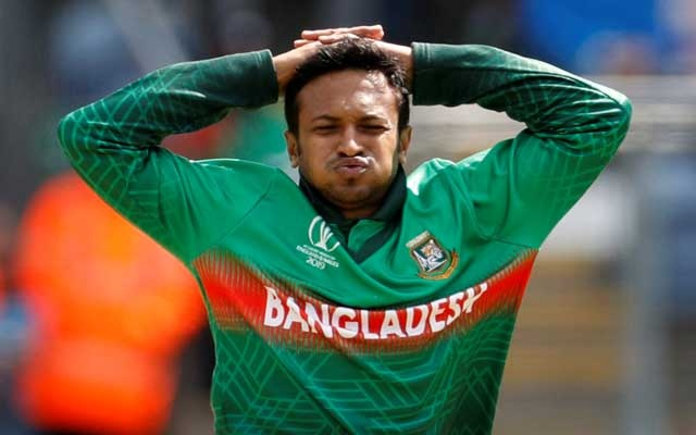 File Photo: ICC Cricket World Cup - England v Bangladesh - Cardiff Wales Stadium, Cardiff, Britain - June 8, 2019 Bangladesh's Shakib Al Hasan reacts Action Images via Reuters