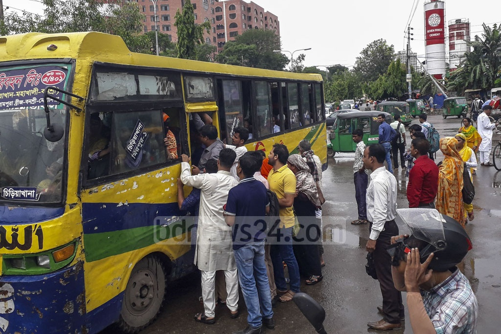 Commuters in Dhaka faced a shortage of public transport amid rains on the first working day after the Eid-ul-Fitr holidays.
