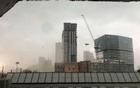 A construction crane sways before toppling amidst high winds in Dallas, Texas, US, Jun 9, 2019 in this still image taken from a social media video. REUTERS