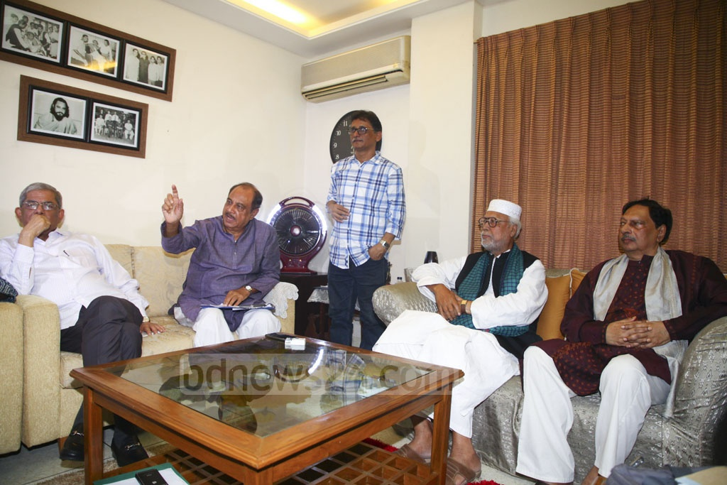 Members of the Jatiya Oikya Front's steering committee hold a meeting at the residence of JSD President ASM Abdur Rab in DHaka's Uttara on Monday.