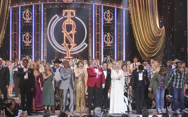 James Corden, center, performs the opening number at the 73rd annual Tony Awards at Radio City Music Hall in New York, Jun 9, 2019. The New York Times