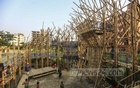 Architecture students of BRAC University and BUET have made a play house for children with bamboo at Basila in Dhaka's Mohammadpur following a proposal by LEEDO, an organisation for street children. Photo: Mahmud Zaman Ovi