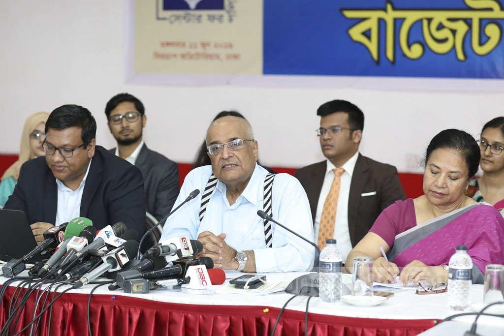 Centre for Policy Dialogue Distinguished Fellow Debapriya Bhattacharya speaking at a press conference in Dhaka on Tuesday on the national budget.