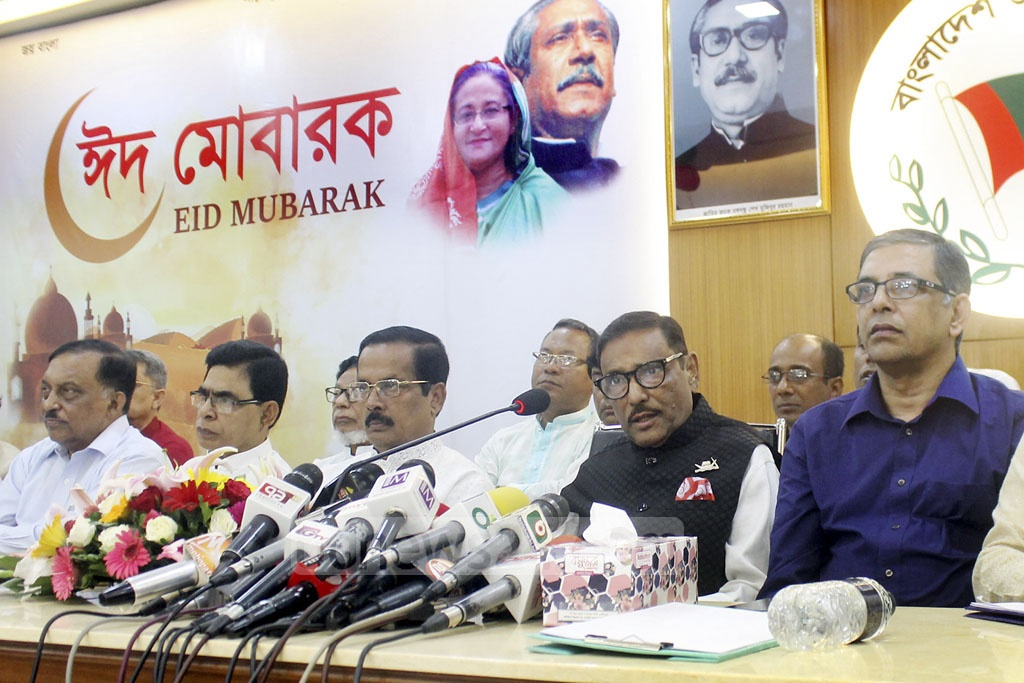 General Secretary Obaidul Quader among other Awami League leaders at a joint meeting at its Bangabandhu Avenue headquarters in Dhaka on Tuesday.