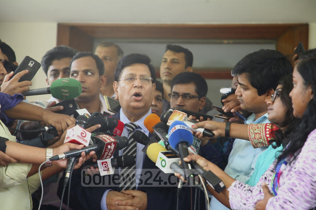 Foreign Minister AK Abdul Momen speaking to the media after briefing Dhaka-based diplomats on the latest situation of the Rohingya refugee crisis at the state guesthouse Padma on Wednesday.
