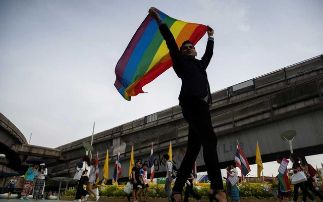 File Photo: An LGBT activist holding a rainbow flag poses for pictures as he attends an International Day Against Homophobia, Transphobia and Biphobia at Bangkok's Art Center, Thailand, May 17, 2019. REUTERS