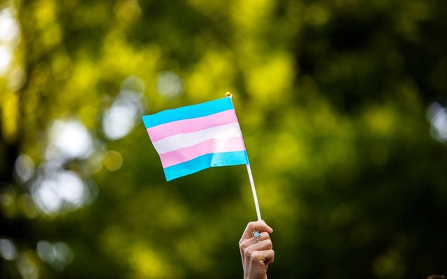 File Photo: Transgender rights activist waves a transgender flag as they protest the killings of transgender women this year, at a rally in Washington Square Park in New York, US, May 24, 2019. REUTERS