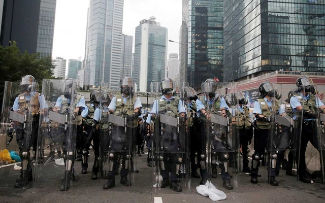 Police officers are seen during a demonstration against a proposed extradition bill in Hong Kong, China Jun 12, 2019. REUTERS