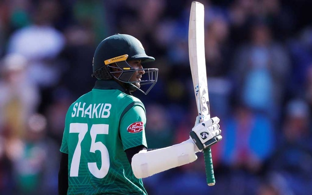 ICC Cricket World Cup - England v Bangladesh - Cardiff Wales Stadium, Cardiff, Britain - June 8, 2019 Bangladesh's Shakib Al Hasan celebrates his century Action Images via Reuters