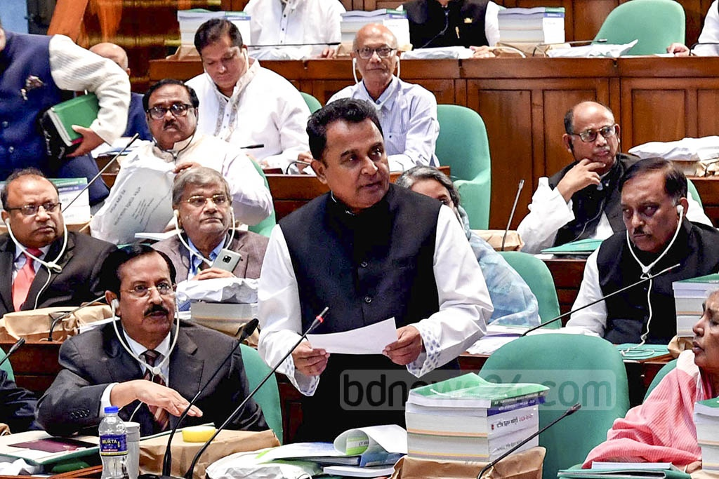 Finance Minister AHM Mustafa Kamal presenting the national budget for fiscal year 2019-20 in parliament on Thursday. Photo: PID