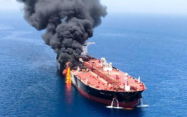 An oil tanker is seen after it was attacked at the Gulf of Oman, Jun 13, 2019. REUTERS