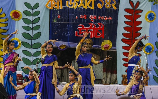 Artistes perform at an event to mark the arrival of monsoon in the Bangla Academy premises on Saturday. Photo: Mostafigur Rahman