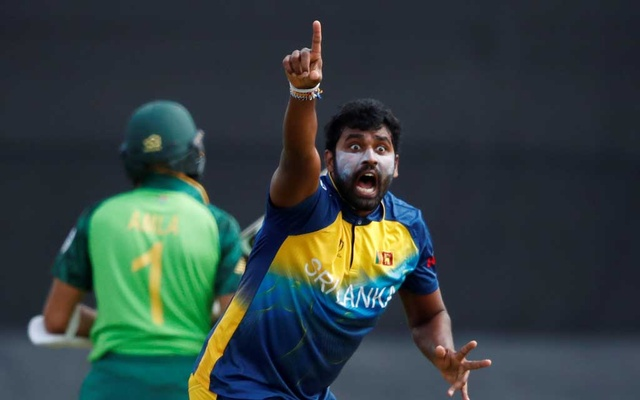 ICC Cricket World Cup Warm-Up Match - Sri Lanka v South Africa - Cardiff Wales Stadium, Cardiff, Britain - May 24, 2019 Sri Lanka's Thisara Perera appeals to the umpire for the wicket of South Africa's Hashim Amla. Action Images via Reuters