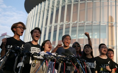 Members of Civil Human Rights Front hold a news conference in response to the announcement by Hong Kong Chief Executive Carrie Lam regarding the proposed extradition bill, outside the Legislative Council building in Hong Kong, China, June 15, 2019. REUTERS
