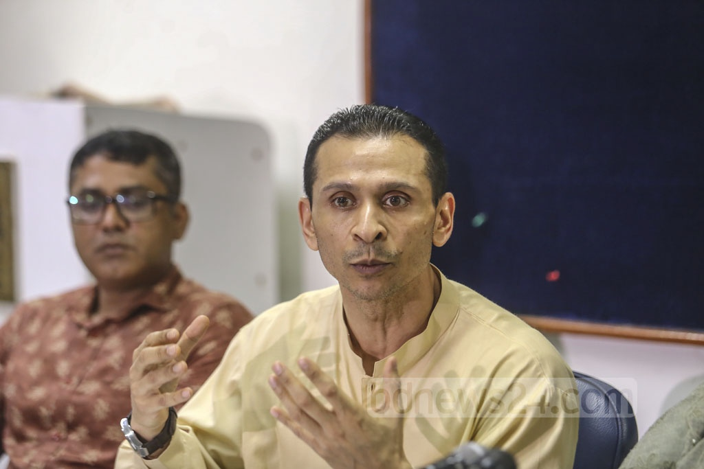 Former state minister for home affairs Tanjim Ahmad Sohel Taj speaking at a media briefing at the Dhaka Reporters' Unity on Monday to address the current situation surrounding his nephew Syed Iftekhar Alam, who has been missing for the last one week. Photo: Mahmud Zaman Ovi