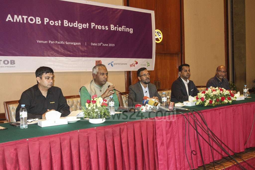 The Association of Mobile Telecom Operators of Bangladesh or AMTOB leaders at a press conference urged the government to review its proposals on the sector in the budget for FY 2019-20. Photo: Asif Mahmud Ove