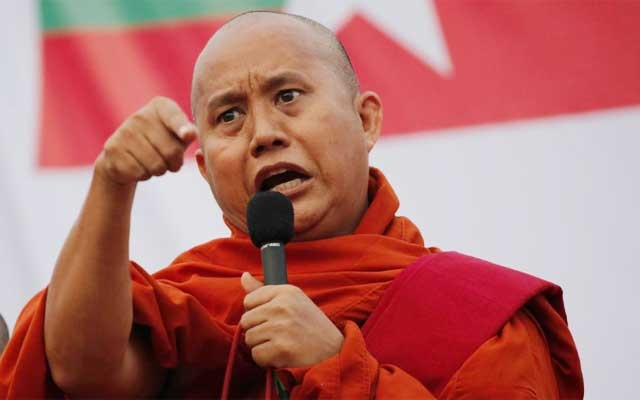 FILE PHOTO: Myanmar Buddhist monk Wirathu speaks at a rally against constitution change in Yangon, Myanmar, May 5, 2019. REUTERS