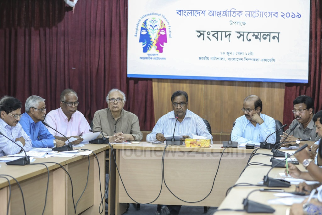 State Minister for Cultural Affairs KM Khalid speaking at a press conference at the Shilpakala Academy in Dhaka on Tuesday on the upcoming Bangladesh International Drama Festival. Photo: Asif Mahmud Ove