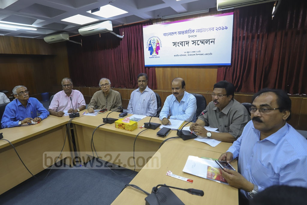 The cultural affairs ministry briefs the media on the upcoming Bangladesh International Theatre Festival 2019, at the Bangladesh Shilpakala Academy on Tuesday. Photo: Asif Mahmud Ove