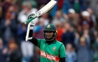 ICC Cricket World Cup - West Indies v Bangladesh - The County Ground, Taunton, Britain - June 17, 2019 Bangladesh's Shakib Al Hasan celebrates reaching his century Action Images via Reuters