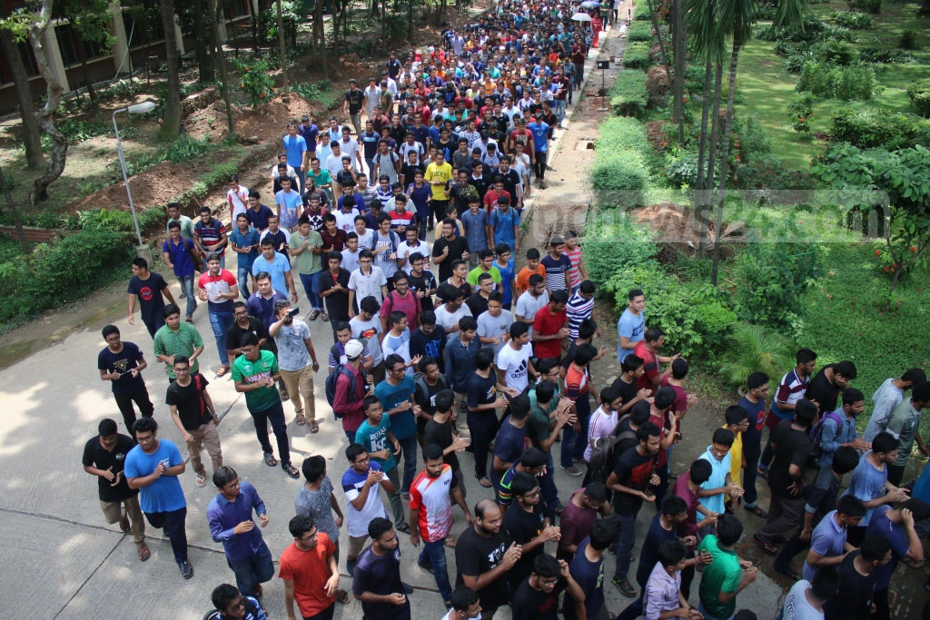 Protests by students of the Bangladesh University of Engineering and Technology continued for the fifth day on Wednesday for a 16-point charter of demand, including regular teacher evaluation programme, a rise in allocation for research, and development of residential halls.