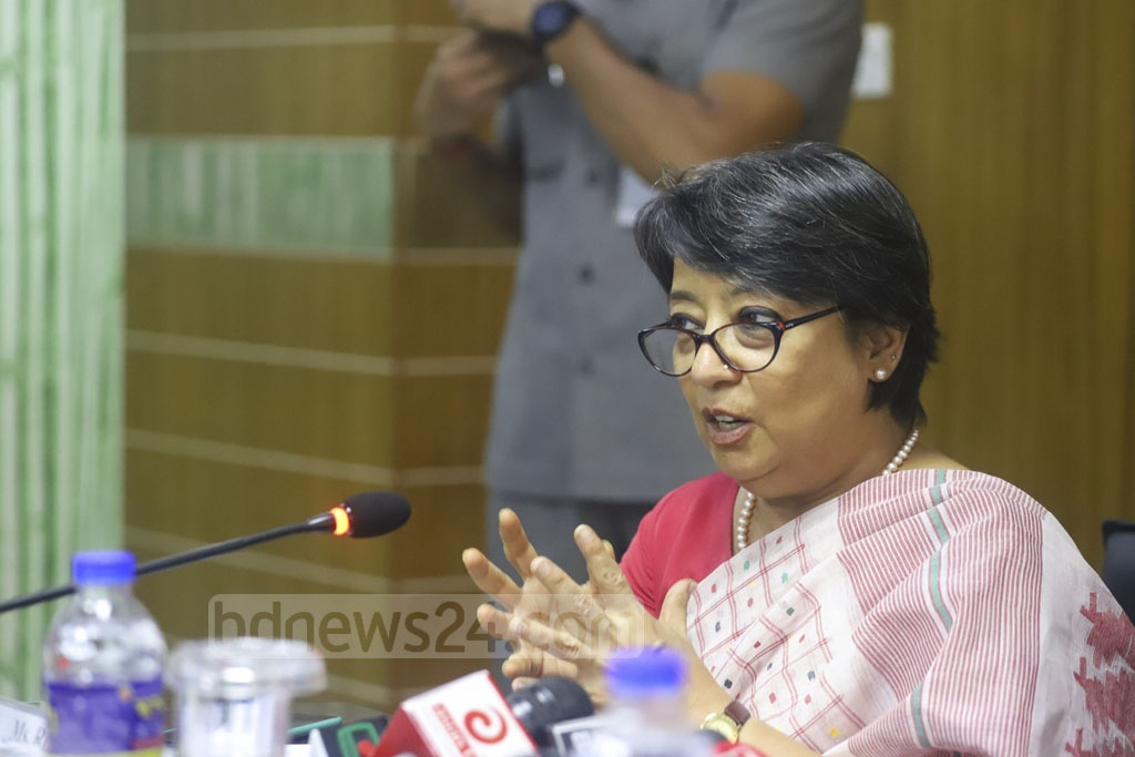 Indian High Commissioner Riva Ganguly Das speaking at a meeting between Bangladesh Hi-Tech Park Authority and a delegation from India at the ICT Tower in Dhaka's Agargaon on Wednesday. Photo: Asif Mahmud Ove