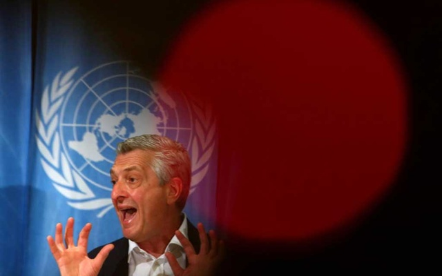UN High Commissioner for Refugees (UNHCR) Filippo Grandi attends a news conference on the annual Global Trends report on forced displacement at the United Nations in Geneva, Switzerland, June17, 2019. REUTERS